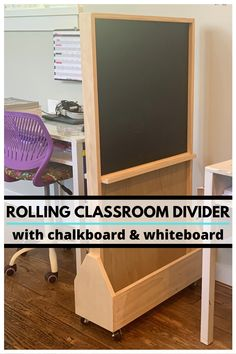 If you need to update your homeschooling or virtual learning space, then you need to build this rolling divider with chalkboard and whiteboard! Check out this build and more on Lazy Guy DIY! Diy Furniture Building, Diy Furniture Plans, Woodworking Furniture, Woodworking Projects Diy, Diy Craft Projects, Woodworking Plans, Wood Projects, Wood Home Decor, Diy Home Decor