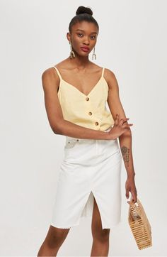 Yellow Button Through Camisole Top - Camis & Vests - Clothing - Topshop Man Dressing Style, Minimal Outfit, 90s Outfit, Topshop Tops, Minimalist Fashion, Korean Fashion, Spring Fashion, White Shorts, Camisole Top