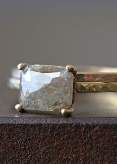 Natural Rose Cut Silver-Champagne Diamond Ring  / Alexis Russel