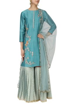 Teal embroidered kurta with light blue gharara and dupatta set available only at Pernia's Pop Up Shop.