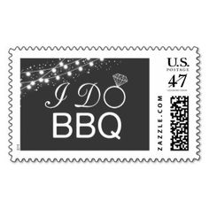 I DO BBQ Black Modern Engagement Wedding Couples Shower Party Celebration String Lights Barbecue Postage Mail Stamp  #idobbq #engagement #wedding #barbecue #couplesshower