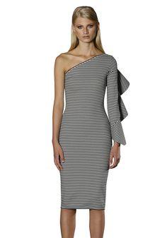 0b30ad1322 BY JOHNNY. Frill Sleeve Asymmetric Dress