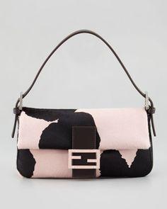 Printed+Calf+Hair+Medium+Baguette,+Black/Pink+by+Fendi+at+Bergdorf+Goodman.