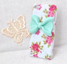 fashion rose flower hard case for apple ipod touch 5 or iphone or 5 Protective cover handmade with mint resin bowknot / bow via Etsy Zoom Iphone, Iphone 4s, Iphone Cases, Cute Ipod Cases, Cool Cases, Coque Ipod, Iphone Protector, Ipod Touch 6th Generation, Accessories