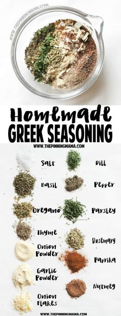 Homemade Greek Seasoning- SO DELICIOUS! Plus it is naturally a paleo compliant gluten free dairy free sugar free and low carb recipe Homemade Spices, Homemade Seasonings, Homemade Recipe, Homemade Ranch Seasoning, Homemade Spice Blends, Paleo Recipes, Low Carb Recipes, Cooking Recipes, Cooking Tips