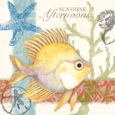 Sunshine Afternoon 1 by Susan Winget Nautical Art, Beach Print, Decoupage Paper, Beach Crafts, Miniature Fairy Gardens, Fish Art, Illustrations, Tropical Fish, Vintage Images