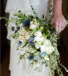 """whimsical Bridal Bouquet, soft sea blue  mascari Thistle, scented stocks and roses """"Wild about Foliage"""" www.thelittle-flowershop.co.uk"""