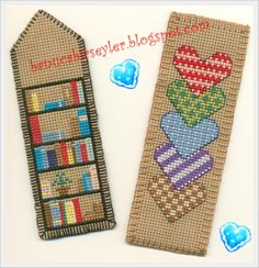 Hearts and flowers bookmarks - cross stitch, needlepoint, st Small Cross Stitch, Cross Stitch Books, Cross Stitch Bookmarks, Cross Stitch Needles, Cross Stitch Heart, Cross Stitch Cards, Cross Stitch Designs, Cross Stitching, Cross Stitch Embroidery