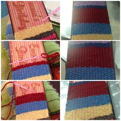 The weaving process on my hand-held loom.