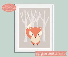 Nursery Printable Art, Printable Wall Art, Nursery Wall Art, Fox Print, Minimalist Nursery Print, Woodland Nursery, Scandinavian Nursery