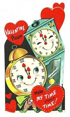 Vintage Valentine Card - Clocks