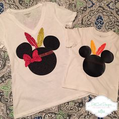 Minnie & Mickey Mouse Thanksgiving Shirt (Glitter and Non-Glitter) by DelCastDesigns on Etsy