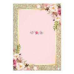 Shop Gold Glitters Blush Pink Floral Wedding Invitation created by CardHunter. Invitation Card Design, Floral Invitation, Floral Wedding Invitations, Wedding Invitation Cards, Bridal Shower Invitations, Wedding Invitation Background, Rose Gold Wallpaper, Blush Pink Weddings, Diy Wedding Decorations