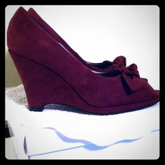 """Suede (like) heels Maroon, 4"""" wedge heels by Fioni. Never worn.  Excellent condition! Shoes Heels"""
