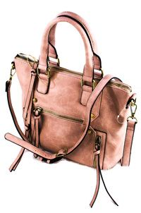 Solid Studs And Zipper Pull Accented Tote Bag