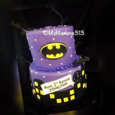 2 Tiered Batgirl Themed Cake w/City Skyline and Flying Bats by #msmarlene313 #313-463-1459 #2tiercake #batgirl #batgirlcake #cityskyline #batman #cakequeenmarlene #cakelady313 #customcakesdetroit #detroitscakelady #detroitcustomcakes #designercakesdetroit #detroitcakes #madeindetroit #313 #msmarlene313
