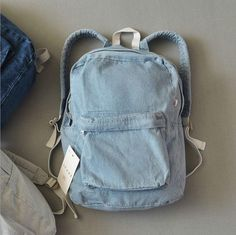 Retro simple AA denim backpack bag men and women backpack large capacity bag casual solid color from Summer11. Saved to Things I want as gifts.