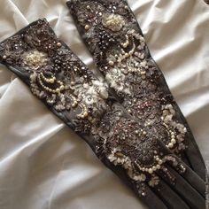 """Купить Перчатки""""Северная Венеция""""бронь - перчатки кожаные, перчатки женские, перчатки длинные, перчатки зимние"""