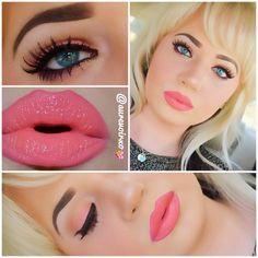 Beautiful barbie coral pink makeup look The lipstick! Pink Makeup, Love Makeup, Makeup Tips, Beauty Makeup, Makeup Looks, Hair Makeup, Barbie Makeup, Pretty Makeup, Skull Makeup
