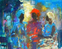 Three way conversation by Soraya French African American Art, African Art, Black Art Painting, African Paintings, French Paintings, Exotic Art, True Art, French Art, Art And Architecture