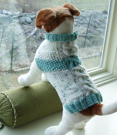 Dog Sweater Hand Knit Seafoam Cable & Seed Stitch Medium by jenya2, $28.99                                                                                                                                                                                 More