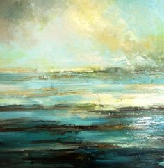 Lost in the ocean by Claire Wiltsher Seascape Art, Abstract Landscape Painting, Landscape Art, Landscape Paintings, Great Paintings, Beautiful Paintings, Encaustic Art, Contemporary Abstract Art, Sea Art