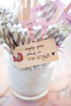 #straws Photography by Amanda Wilcher  Read more - http://www.stylemepretty.com/2011/02/18/ontario-wedding-by-amanda-wilcher-hey-gorgeous-events/