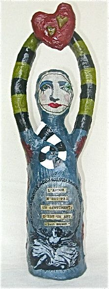 Love Art Doll Mixed Media Paper and Fabric by BebeTheCircusQueen