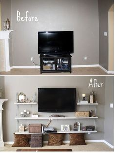DIY hanging shelves instead of entertainment center // Love this idea. I bet it's cheaper than buying a big entertainment center, too.