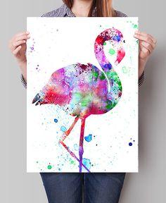 Flamingo Watercolor Art Print Watercolor Painting Watercolor