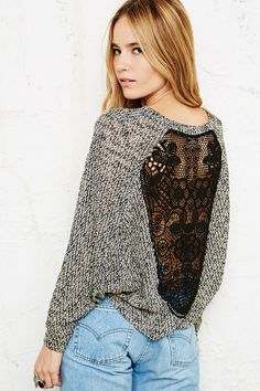Staring at Stars Crochet Back Cropped Sweatshirt