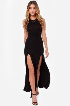 Stem Spells Black Racerback Maxi Dress