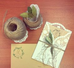 Wooden Invitation, Wedding Logo, Doily, Olive Leaves, Craft Envelope. Greek Wedding, Invitations from (contact : mikaella_theo@hotmail.com)