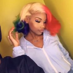 Pin by Frisur 2019 on Frisur ideen in 2019 Afro Hair Style, Curly Hair Styles, Natural Hair Styles, Pretty Hairstyles, Wig Hairstyles, Colored Weave Hairstyles, Cute Hair Colors, Colored Wigs, Hair Laid