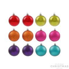 Shatterproof Christmas baubles 7cm multi colour mix 12 pieces
