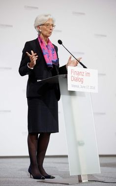 """Lisa Armstrong, """"Theresa May and Andrea Leadsom: Wardrobes Matter for Political Women,"""" The Telegraph (9 July 2016). Photo: IMF Chief, Christine Lagarde wearing a printed scarf, June 2016."""