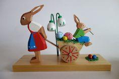 Vintage LARGE Erzgebirge Germany BUNNY RABBIT Wood Figurine Easter HOLZKUNST