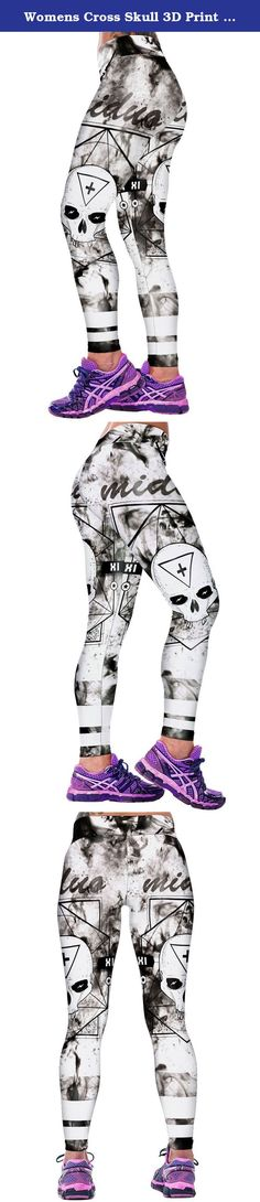 """Womens Cross Skull 3D Print Hot Sport Fitness Leggings Black and White Free Size. Brand:COCOLEGGINGS Material: Polyester + Spandex Measurements: Use similar clothing to compare with the size: One size fits S to L: Waist:26.77-32.28 inches; Hip:33.07-39.37 inches; Thigh:18.90 inches; Length:35.43 inches Notice: Please allow 0.4""""- 0.8"""" differs due to manual measurement, thanks! Package Content: 1pc x Women Leggings ."""