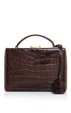 Grace small box bag in brown crocodile by MARK CROSS for Preorder on Moda Operandi