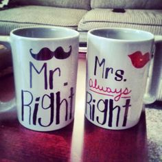 "I NEED to do this for my mom and dad. Except, they would have to say ""Mr. always Right"" and ""Mrs. Right"", because my dad thinks he's always right. :) #DIY #DIY Crafts #gift ideas #gifts #Holiday Gifts"