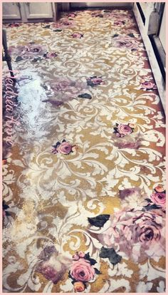 Suzy Homefaker: Recycled Painted Linoleum Kitchen Glitter Decoupaged Floor