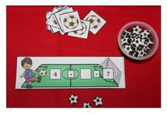 Addition & subtraction - Your students will enjoy reinforcing and learning their addtition and subtraction skills with this soccer themed center. Product focuses on addition and subtraction within 10 and to/from 10 and missing addends within 10 and 20. Students draw number sentence cards and use the provided soccer ball pieces to figure out the problem. Recording sheets are included. Laminate the number sentence cards so students can use wipe off markers on them.