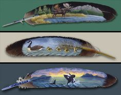 Hand Painted Feathers by Julie Thompson Feather Painting, Feather Art, Feather Jewelry, Tole Painting, Painted Leaves, Painted Rocks, Hand Painted, Painted Feathers, Native Art