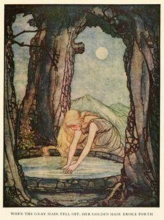 "artofnarrative: "" Rie Cramer ~ The Goose Girl at the Well ~ Grimm's Fairy Tales ~ 1927 ~ via When the gray mask fell off, her golden hair broke forth. Art And Illustration, Fairy Tale Illustrations, Fantasy Kunst, Fantasy Art, Art Magique, Grimm Fairy Tales, Fairytale Art, Art Inspo, Illustrators"