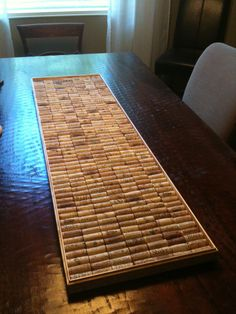 Table runner made with wine corks.