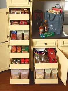 and Clever Kitchen Storage Ideas I need space-saving ideas for my small kitchen. I like these pull-out shelves as a possible solution.I need space-saving ideas for my small kitchen. I like these pull-out shelves as a possible solution. Small Kitchen Pantry, Kitchen Pantry Cabinets, Kitchen Cabinet Storage, Kitchen Redo, Storage Cabinets, Cabinet Drawers, Pantry Storage, Kitchen Ideas, Garage Storage