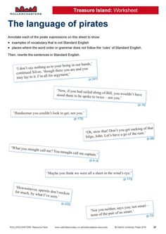 Introduce your students to rudyard kipling with this free worksheet use this free worksheet to help your classes analyse the grammar and vocabulary of pirate speak in treasure island fandeluxe Images
