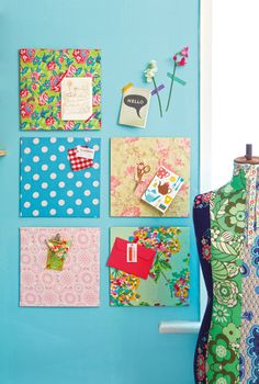 Adorable and extremely quick to do. DIY Cork & Fabric Inspiration Boards (cork tiles for 50 cents with coupon at Joann's kaylees wall My Sewing Room, Sewing Rooms, Home Design, Diy Projects To Try, Craft Projects, Fabric Crafts, Sewing Crafts, Cork Fabric, Stencil