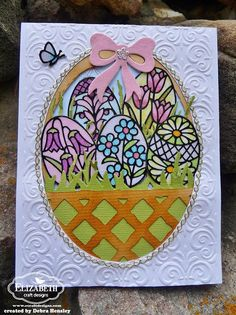 Debra Hensley has been thinking of the days when her children were young enjoying filling beautiful Easter baskets with decorated eggs and treasures. She wanted to create a basket card and fill it with glittered eggs just as her children did. She used the Bamboo Trellis die to create her basket. This is how she did it: http://ecraftdesignsblog.com/…/…/trellis-easter-basket-card/