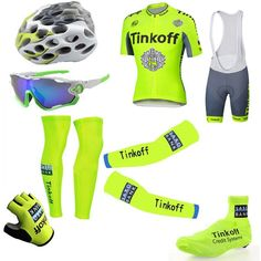 6097b5dee Tour De France Cycling Jerseys Tinkoff Saxo Bank Yellow Fluo Bike Wear Arms  Legs Helmet Sunglasses Gloves Shoes Covers Short Sleeves Bicycle Clothing  Mtb ...